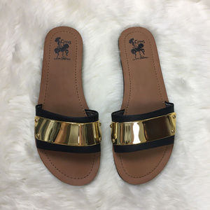 Sam Edelman Circus Black & Gold Sandals